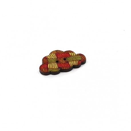 Wooden button, weaved graphic cloud - multicoloured