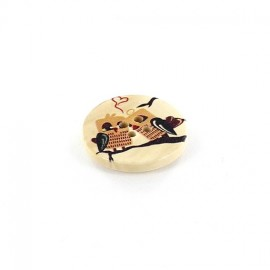 Wooden button, rounded-shaped, Owl Cuddle - beige