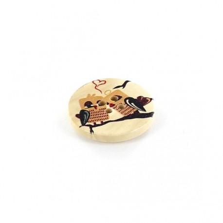 Bouton Bois Hibou Ronds Owl cuddle beige