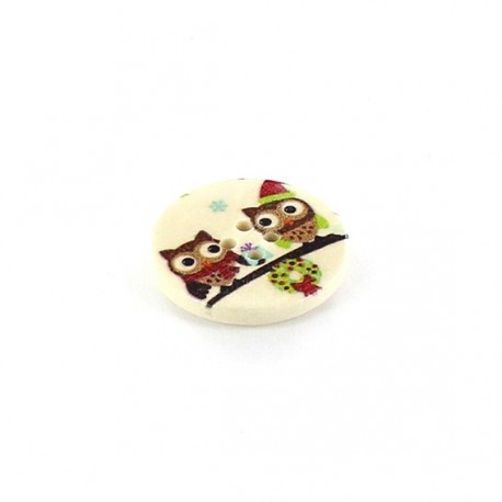 Wooden button, rounded-shaped, Owl Birthday Party - beige
