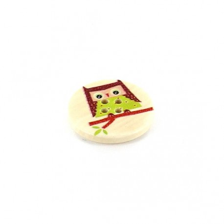 Wooden button, rounded-shaped, green Owl - beige