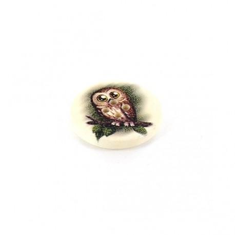 Wooden button, Jamaican varnished Owl - beige