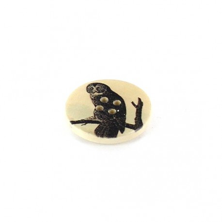 Wooden button, Abyssinian varnished Owl - beige
