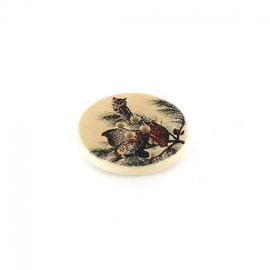 Wooden button, varnished Stygian Owl - beige