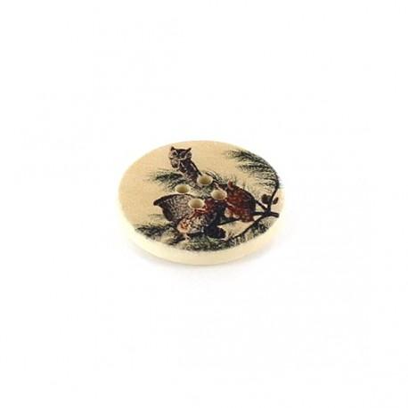 Wooden button, varnished Stygian Owl - beige
