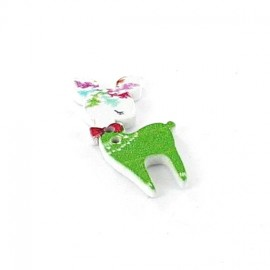 Wooden button, white fawn - green