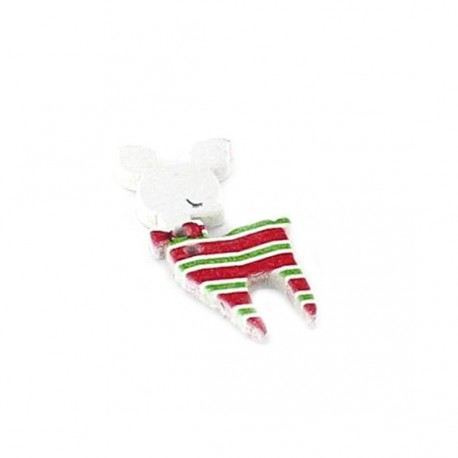 Wooden button, white fawn - red/green graphic