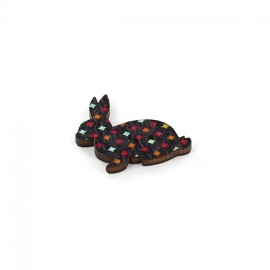 Wooden button, rabbit - black little diamond graphic