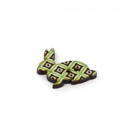 Wooden button, rabbit - beige aztec diamond graphic