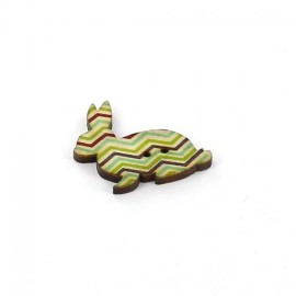 Wooden button, rabbit - multicolored herringbone