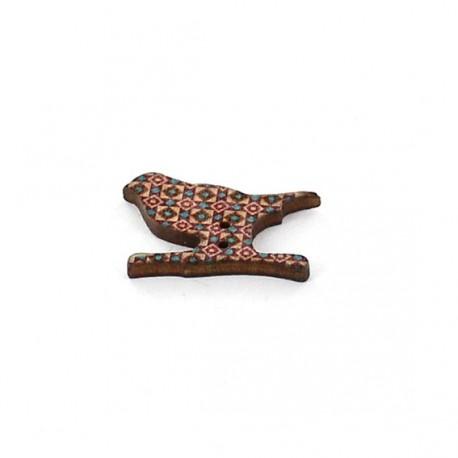 Wooden button, bird - multicolored aztec graphic