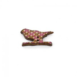 Wooden button, bird - multicolored little diamond graphic