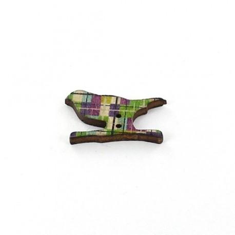 Wooden button, bird - multicolored square graphic