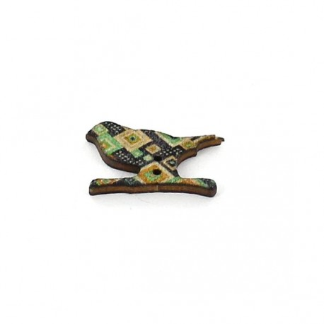 Wooden button, bird - multicolored diamond graphic