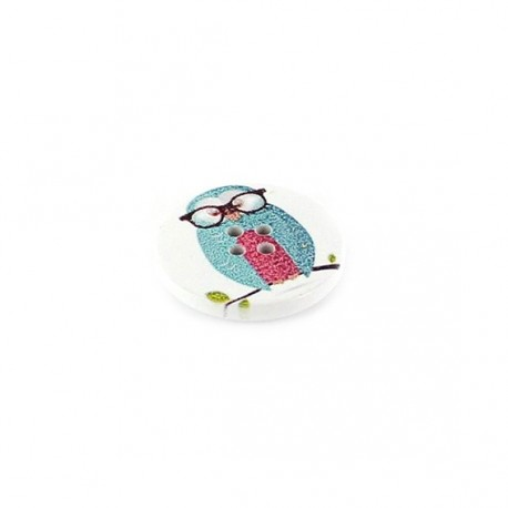 Wooden button, white, Owl with glasses - blue