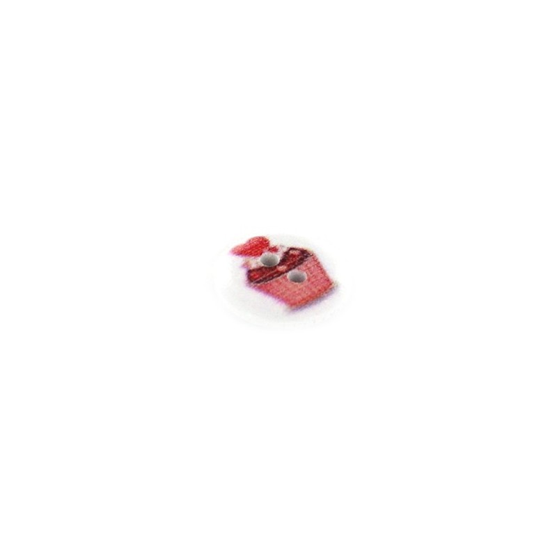 Wooden button, red love cupcake - white - Ma Petite Mercerie