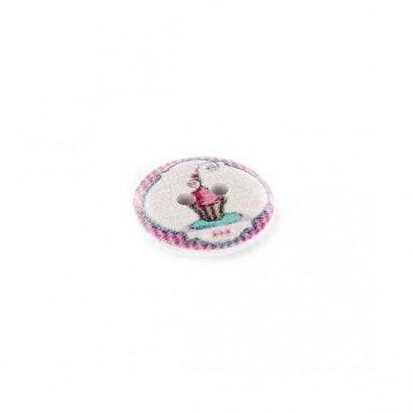 Wooden button, raspberry cupcake - white