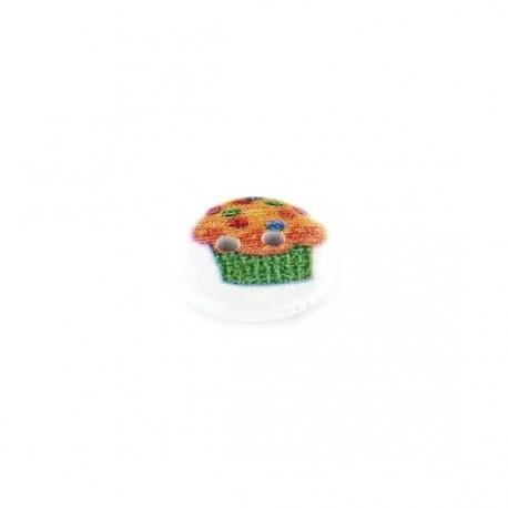 Bouton Bois blanc cupcake smarties - blanc
