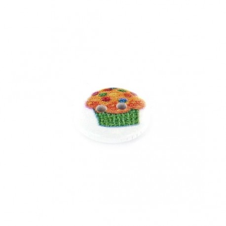 Wooden button, smarties cupcake - white