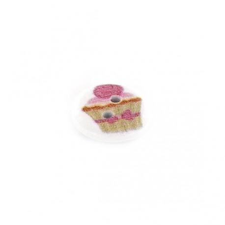 Bouton Bois blanc cupcake à la rose - blanc
