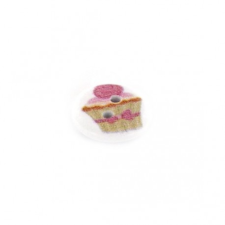 Wooden button, sentimental cupcake - white