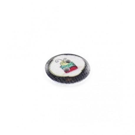 Bouton Bois blanc cupcake fond noir - blanc