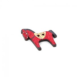 chevaux wood button - red