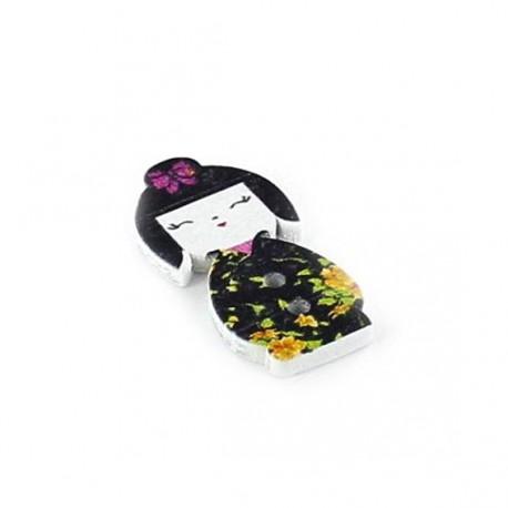 Wooden button Kokeshi Kimono, flowered - black/yellow