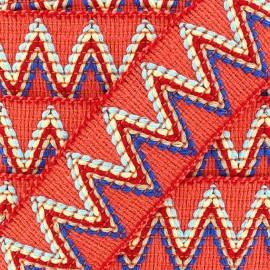 Elastic braid trimming ribbon, Incas x 50cm - orange