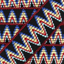 Elastic braid trimming ribbon, Incas x 50cm - black