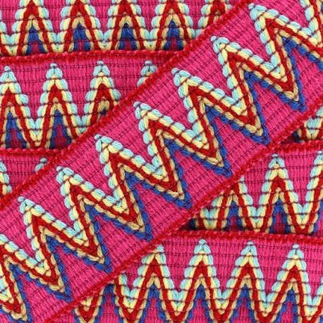 Ruban galon élastique Incas fuchsia x 50cm