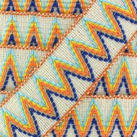 Elastic braid trimming ribbon, Incas x 50cm - cream/orange