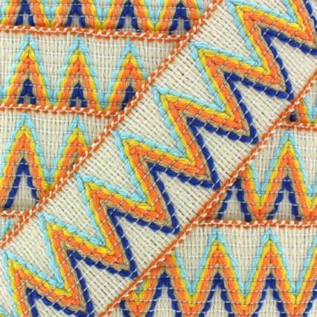 Ruban galon élastique Incas crème/orange x 50cm