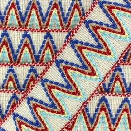 Elastic braid trimming ribbon, Incas x 50cm - cream/red