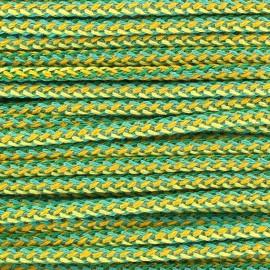 Cordon tressé multi 4mm vert/jaune