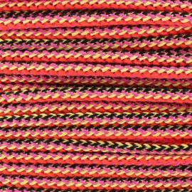 Cordon tressé multi 4mm orange/noir
