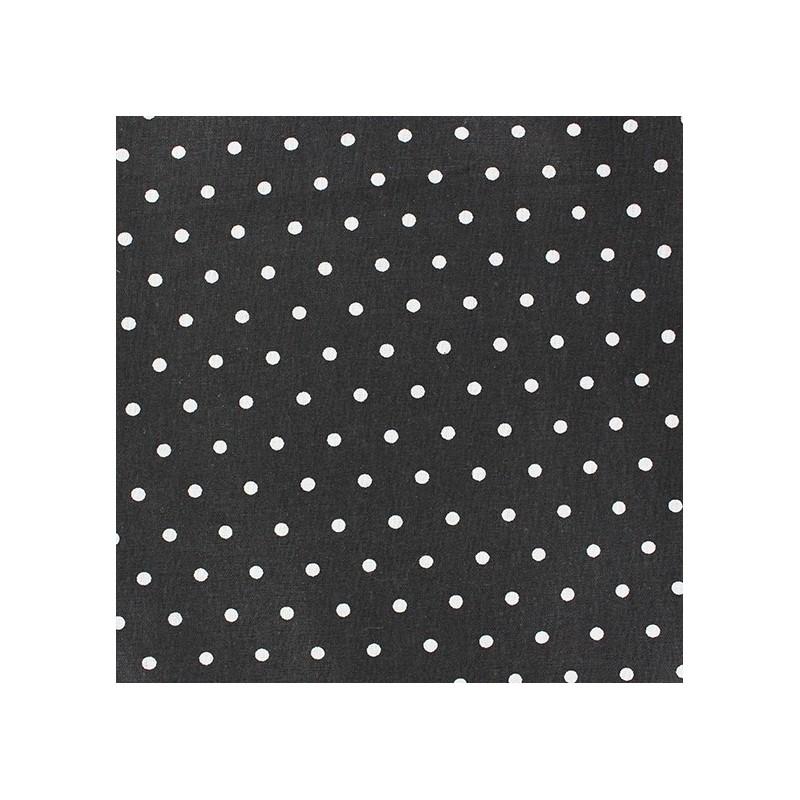 tissu d 39 ameublement tissu coton cretonne drop blanc fond noir x 10cm. Black Bedroom Furniture Sets. Home Design Ideas