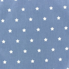 Tissu coton cretonne Stars fond denim x 10cm