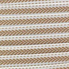 Ruban aspect gros grain Ethnique motif incas beige/blanc
