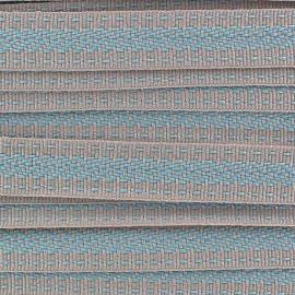 Ruban aspect gros grain Ethnique motif incas bleu/beige