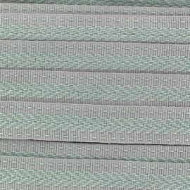 Ruban aspect gros grain Ethnique motif incas vert/gris