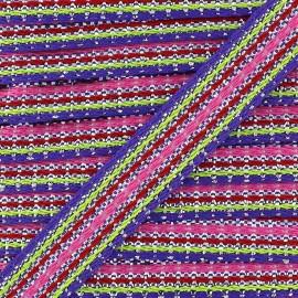 ♥ Coupon 385 cm ♥ Ruban Happy avec lurex - violet