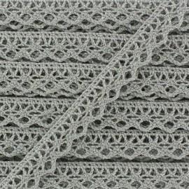 Shiny Spindled Lace ribbon 10mm Ribbon - grey x 50cm