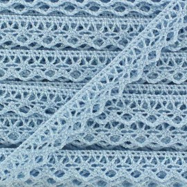 Shiny Spindled Lace ribbon 10mm Ribbon - blue x 50cm