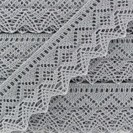 Shiny Spindled Lace ribbon 43mm Ribbon - grey x 50cm