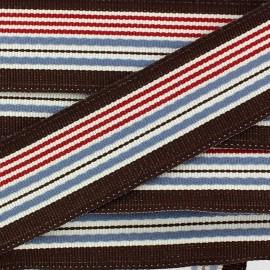 Grosgrain aspect ribbon, Bayadere stripes - brown