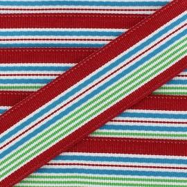 ♥ Coupon 185 cm ♥ Grosgrain aspect ribbon, Bayadere stripes - red