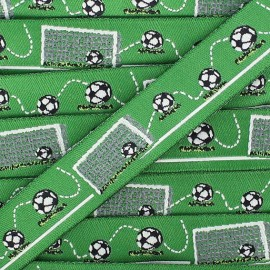 Woven Ribbon, Football Time - green