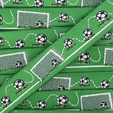 Ruban tissé Football Time vert