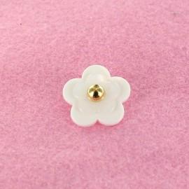Bouton Polyester Fleur Perlé Blanches